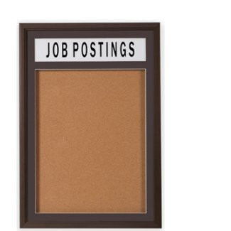30 X 36 Wood Frame 1 Door Enclosed Bulletin Board Wheader