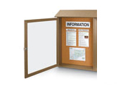 "26""W x 42""H Single Door Outdoor Message Center with Natural Cork Tack Surface"