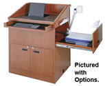"36"" Wide Multimedia Wood Veneer Lectern"