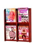 4 Pocket Wallmount Oak Magazine Rack