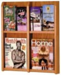 4 or 8 Pocket Wallmount Oak Brochure or Magazine Rack