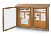 "45""W x 30""H Double Door Outdoor Message Center with Natural Cork Tack Surface"