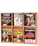 6 Pocket Wallmount Oak Magazine Rack