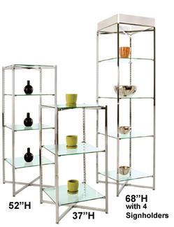 "68""H Folding Glass Tower - Chrome - w/4 Signholders"