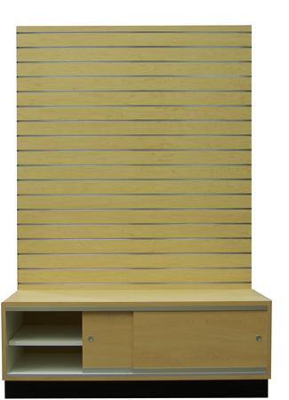 Example Custom Slatwall Wall Cabinet Wsliding Storage Doors