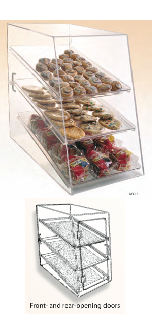 "Food Display Case 12 1/8""W x 20 1/4""H with 3 Trays - Front & Rear Opening Door"