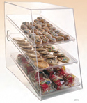 "Food Display Case 11 1/2""W x 17 1/4""H with 3 Trays - Rear Opening Door"