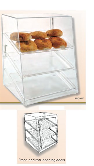 "Food Display Case 18 1/2""W x 20 1/4""H with 3 Trays - Front & Rear Opening Door"