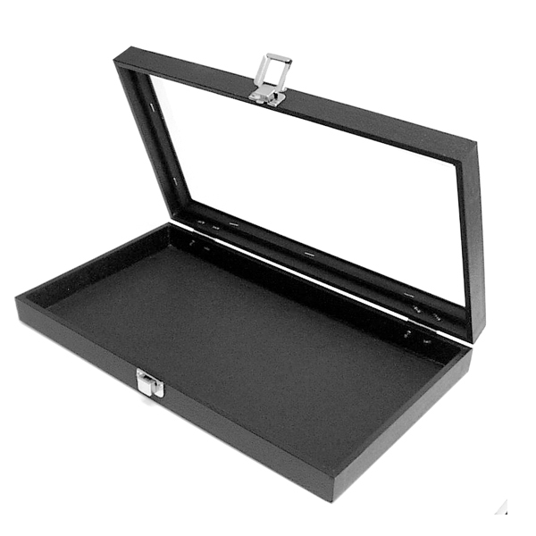 Jewelry tray with glass lid black velvet for Jewelry tray with lid