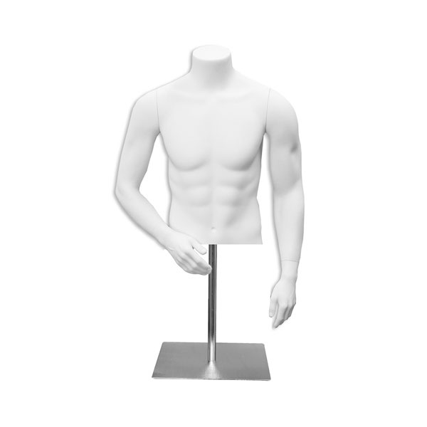Male White Headless Torso With Stand For Countertop Display