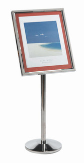 Menu & Poster Display Stand w/CHROME Frame 20