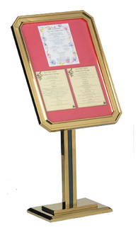 Sign & Poster Display Stand w/BRASS Frame 26 1/2