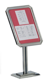 "Sign & Poster Display Stand w/CHROME Frame 26 1/2""H x 18 1/2""W"