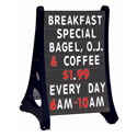 Rolling A-Frame Black Double Sided Sidewalk Changeable Letterboard Sign