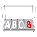 "Deluxe Letter Set - 4""H White & Red Characters"