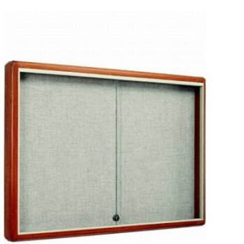 60 Quot W X 48 Quot H Wood Frame Enclosed Bulletin Board W Fabric Back