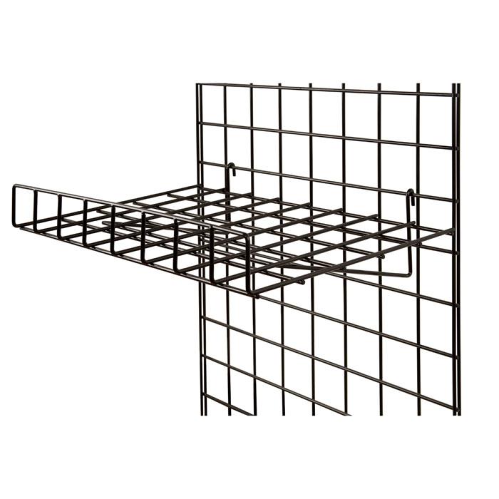 black 1  4 u0026quot  wire gridwall flat shelf 24 u0026quot w x 15 u0026quot d