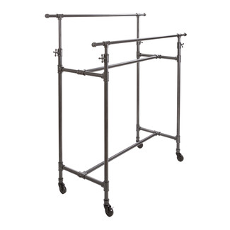 Pipeline Adjustable Double Bar Box Garment Rack, Anthracite Grey