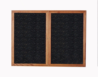 "2 Door 36""H x 48""W Enclosed Recycled Rubber Tack Board w/Oak Frame"