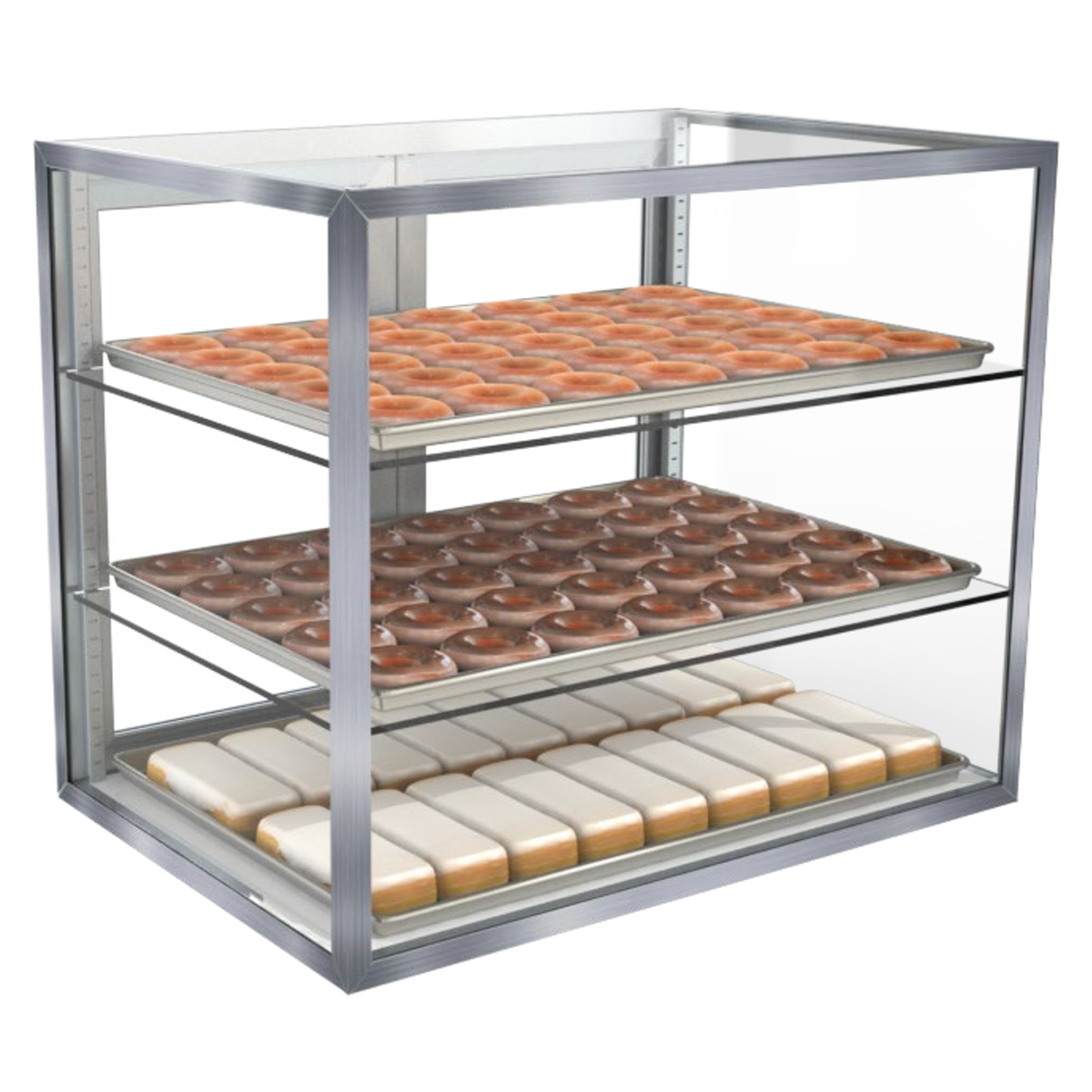 removable rear p acrylic load frame countertop bakery metal display trays pastry case countertops doors zoom