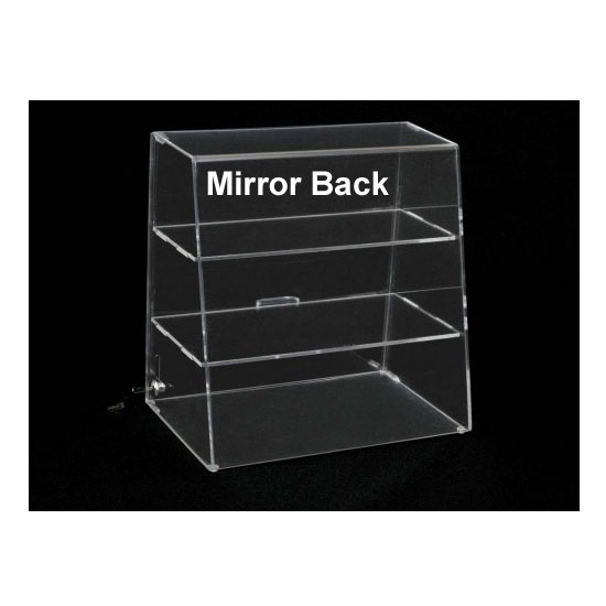 16H X 16W Display Case 2 Flat Shelves Mirror Back