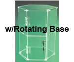 "13 1/4""H Hexagon Display Case on Rotating Base with 1 Shelf"