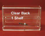 "13""H x 21""W Display Case, Sliding Doors, 1 Shelf, Clear Back"