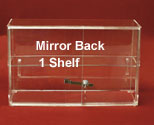 "13""H x 21""W Display Case, Sliding Doors, 1 Shelf, Mirror Back"