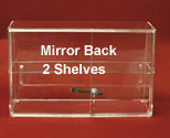 "13""H x 21""W Display Case, Sliding Doors, 2 Shelves, Mirror Back"