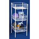 "3-Tier Dump Bin with 19"" x 19"" Square Wire Baskets - White"