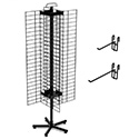 "4-Sided 48"" x 16"" Wire Grid Panel Floor Spinner Display"