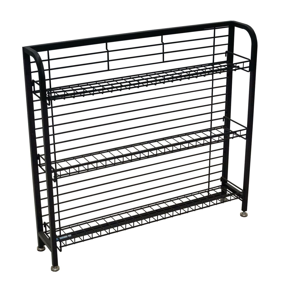 Black For Sale Floor Flat or Slanted 4 Shelf Wire Display Rack