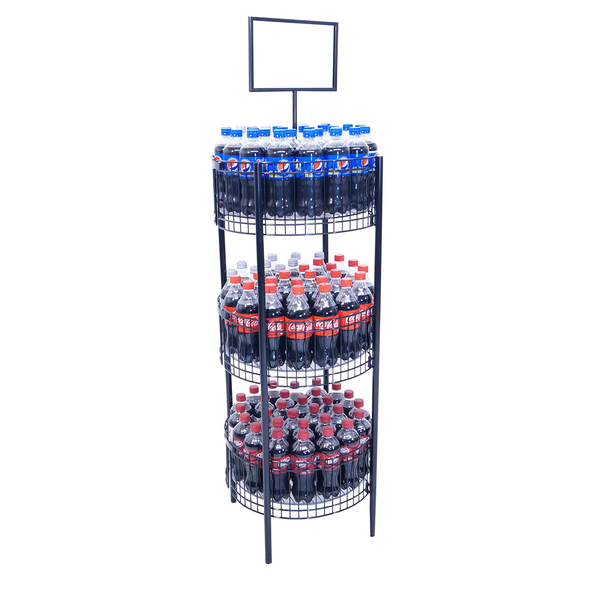 3 Tier Dump Bin Wire Display Rack With Glides And Sign Frame