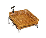 Lower Level Square Willow Basket Counter Display Rack With Sign Clip