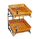 "20""H 2-Tier/2-15"" Square Willow Basket Counter Display Rack With Sign Clip"