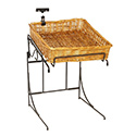 Upper Level Square Willow Basket Counter Display Rack With Sign Clip