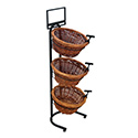 3 Tier 3 Round Willow Basket and Floor Stand Display Rack with Sign Frame
