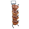 4 Tier 4 Round Willow Basket and Floor Stand Display Rack with Sign Frame