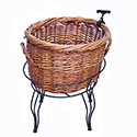 "23""H Medium Round Willow Basket And Floor Stand Display Rack"