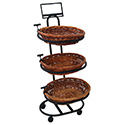 3-Tier Willow Basket Floor Display with 3 Oval Baskets