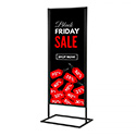 18″w x 60″h Metal Poster Display Stand with 1 Tier Black
