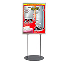 24″w x 36″h Oval Poster Display Stand - Double Sided - Silver