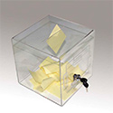 "8"" × 8"" x 8"" Clear Acrylic Donation & Ballot Box w/Lock"