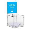 "8.5"" x 8.5"" Clear Acrylic Donation & Ballot Box w/Lock and Header"