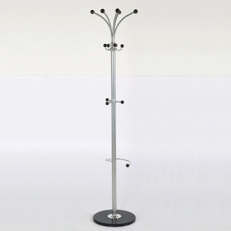 74″ x 15″ Metal Tube & Marble Base Coat Hanger, Fountain Coat Rack
