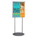 Deluxe 22″w x 28″h Oval Poster Display Stand – Double Sided - Silver