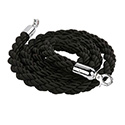 Stanchion Q Rope - Chrome Hardware, Black Rope