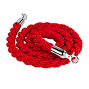 Stanchion Q Rope - Chrome Hardware, Red Rope