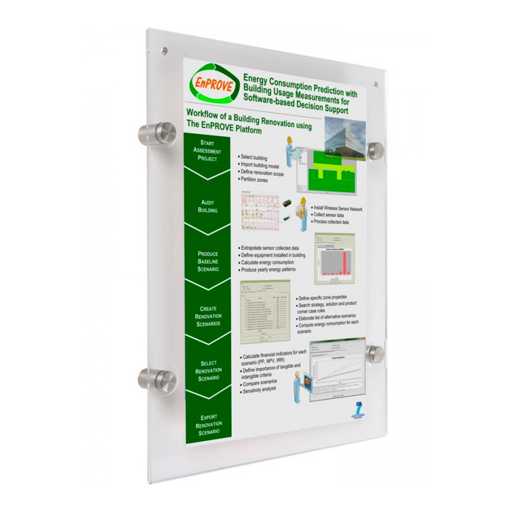 """18"""" x 24"""" Poster Size Wall Mount Clear Acrylic Sign Frame with Standoff Hardware and Magnets"""