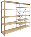 "24""D x 96""H 2-Section NewSelect Hemlock Shelving Unit with 36""W Shelves - Clear Finish"